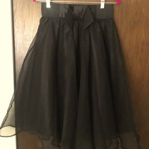 Black long tulle skirt with bow